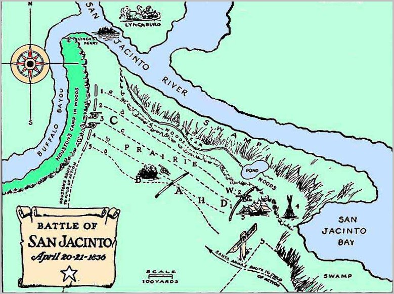 March RootSeekersorg - Battle of san jacinto map us